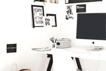 Home Office space / The perfect home office, tidy, fresh peonies, scented candle ....