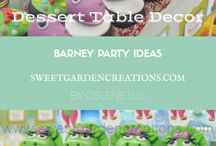 Barney Party Ideas / Dessert tables by Sweet Garden Creations