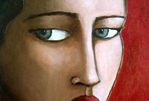 ART girls faces / oil, acrylic ,mixed media and collage art paintings