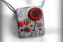 polymer clay/  pate polymer / beads, jewelry and stuff perles bijoux et autres