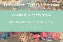 Cinderella Party ideas / cake topper ideas, unique cake topper photos, unique dessert table for kids party, kids party ideas for girls Cinderella sweets, desserts, candy station, favors, elegant set up, sweetgardencreations, Gislene Luz