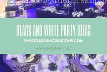 Black & White Party Ideas / cake topper ideas, unique cake topper photos, unique dessert table for teens party adults , 40th dessert station,  black and white, elegant set up, cupcakes, cookies , sweet garden creations etc