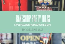 Bake Shop Party Ideas / Dessert station,  bake shop, fun party, elegant set up, cake topper ideas, unique cake topper photos, unique dessert table for kids party, kids party ideas for boys and girls cupcakes, cookies , sweet garden creations etc