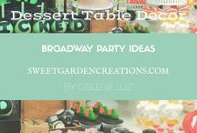 Broadway Party Ideas / cake topper ideas, unique cake topper photos, unique dessert table for kids party, kids party ideas for boys and girls, Broadway , playbill , elegant set up, cupcakes, cookies , sweet garden creations