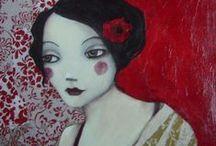 ARTISTE carine.B / acrylic art female faces Peintures acryliques sur toiles /visages de femmes