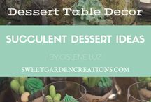 "Succulent Dessert Ideas / In May I had the pleasure to display a beautiful Dessert Station for a wedding show in NYC. It was a hit! We chose a very popular theme for the season ""succulents.""  Www.sweetgardencreations.com"