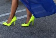 Neon shoes and bags