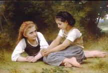Bouguereau Paintings / William-Adolphe Bouguereau 1825 –  1905) was a French academic painter and traditionalist. In his realistic genre paintings he used mythological themes, making modern interpretations of classical subjects, with an emphasis on the nude  female and children.