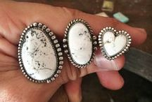 white buffalo. / White Buffalo, White Turquoise, Turquoise, Rings, Cuffs, Bracelets, Necklaces, Pendants, Silversmith, Sterling Silver