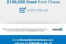 "Vote SyncFab for Chase Grant by June 19, 2015 to REVERSE Offshoring / Help Reverse Offshoring by clicking this link and ""Vote Now"" for SyncFab to qualify for a Chase Grant Review. https://www.missionmainstreetgrants.com/b/76453  We are 2 years into launching this summer a Local Distributed Manufacturing Platform targeting sustainable materials and processes matched with intuitive local design. Thank You for your support! 250 Votes total are needed so please click through to ""Vote Now.""  https://www.missionmainstreetgrants.com/b/76453"
