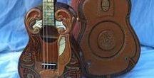 Ukuleles- Baritone Decorated / My wish list of Soprano Ukuleles and Banjoleles with Interesting original artwork, inlay, stencil or decal decorations