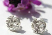 Silver stud earrings / Silver stud earrings handmade in fine silver by little silver hedgehog