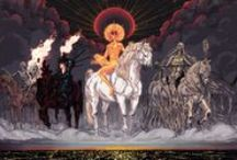 four horsemen / and I heard, as it were the noise of thunder, one of the four beasts saying, come and see