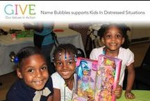 Name Bubbles Give Program / Name Bubbles' Giving Program provides support and awareness to a participating non-profit each calendar year. By providing special product offerings created specifically for the program, the Company has been able to donate thousands of dollars to a participating non-profit each year in addition to raising awareness for their cause. Name Bubbles is committed to support those who dedicate their lives to assisting others. http://www.namebubbles.com/giving.htm / by Name Bubbles