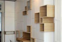 Bibliothèque et rangement - Wall unit and storage / by Céline Dufresne