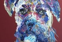 Pet Portraits - Dogs // Paintings in acrylics and pastels / Realistic or abstract pet portraits of domestic dogs in acrylics, soft/ oil pastels by Kelly Goss Artist