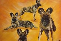 African Wildlife Art // Paintings in acrylics and pastels / Realistic or abstract paintings of African lions, leopards, wild dogs, elephants, antelopes and giraffes in acrylics, soft or oil pastels by Kelly Goss Artist
