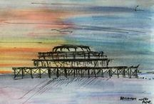Landscape Drawings of famous landmarks // Sketches in ink and wash / Ink and wash landscape sketches by Kelly Goss Artist