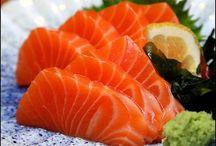 Sushi sashimi and maki / Artfully cut Japanese raw fish, and associated foods served beautifully