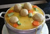 Matzo Balls Knaidelach / Jewish food matzoh ball dumpling typically used for Passover chicken soup.
