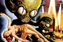 Sci-Fi Movie posters, comics, pulps / Kitschy, over the top. Gorgeous women threatened by a galaxy of monsters and evil.