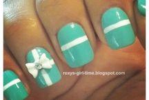 Nail art / Vert et blanc