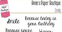 Smile Stamp set by Annie's Paper Boutique / Our Smile set is a sweet collection of everyday greetings and birthday wishes. It's perfect for cards and tags.  Why not use it to create something special and spread a little cheer?