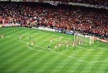 And Solskjaer has won it!! / Nou Camp, 26th May 1999. Manchester United vs Bayern Munich (and victory parade including the Premier League and FA Cup trophies too).