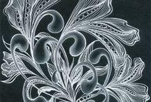 Zentangle-bílé na černém