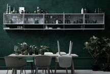 #green in interiors / a passion for green, green painted walls, green kitchens, green upholstery, green sofa