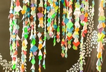 #display / wall shelves, clever displayed items, paper chains, paper art, creating interesting things for display, events and walls