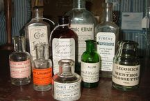 Old chemist bottles, potions and cure alls.
