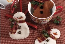 """Snowmen ~ Wood, Quilted, Felt, etc. / Psst ~ There are a few quilted snowmen hiding in """"Quilting ~ Christmas"""" / by Pat Lauder"""