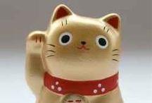 Lucky Cats - Maneki Neko / Japanese Lucky Cat On Different Merchandise