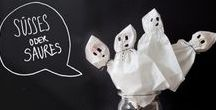 HALLOWEEN / Alles zum Thema Halloween! Kinder: kommt an unsere Hausür: ob als Fledermaus, Hexe, Gespenst oder Kürbis! Tolle Dekoration einfach selber basteln, ob für den Garten draußen, die Fenster, Treppe oder Tische im Zimmer. Ideen für super Kostüme, auch ohne aufwediges Nähen und Schminken. Tolle Tipps für leckeres Essen & Süßigkeiten gruselig verpacken findet ihr auf unserem Blog FAMILICIOUS.de  Cute sweet treats presents and DIY for halloween ghost & bat costume and decoration as free printables.