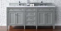 Brittany + Brittany Encore Collection / This classic cabinet is crafted with beautiful details, from the tapered legs to the handcarved pilasters. With a blend of both Traditional and Transitional styles, the charm of the Brittany Collection is fitting for a variety of interior designs. Setting a crisp and serene environment, the Brittany Collection is available in three of our best finish colors. With satin nickel hardware, the style of this vanity is designed for modern living.