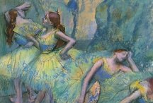 Edgar Degas / Throughout his career Degas returned again and again to the ballet as subject matter. Half of his mature work related to it. About 1500 drawings, pastels, paintings and sculptures survive which have ballet as their subject. Other important themes in Degas' career were horses and riders, bathers and the theater. Asymmetry often played an important role in the construction of Degas' views of each of these works.