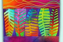 "Quilts by Melody Johnson  / Melody has been a quilt artist since 1981 & a professional dyer for twelve years. Melody has a BA in Painting & Drawing and an MA in Fibres both from Northern Illinois University  """"I'm making art for the wall, not a functional bed quilt. I choose to fuse so I can be expressive with fabric in ways that would be impossible with any other construction method."" / by Morilyn Carter"