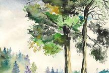 Les arbres en dessin et peinture