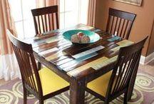 Mesas / Ideias de mesas de pallets, madeira, de restauração, etc.
