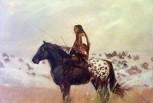 Dipinti a olio tribù nativi pellerossa. / Dipinti Pellerossa