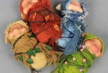tiny baby pixies & trolls - troldfolk - bjergtrolde - huldrefolk- brownie - brounie / original and ooak hand sculpted tiny baby pixie and troll art dolls.