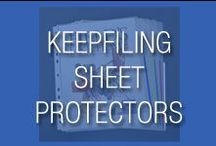 Keepfiling Sheet Protectors / Features Keepfiling sheet protectors from different sizes and material gauges.  All sheet protectors are archival safe and will protect your papers.  Specialty sheet protectors for presentations, business cards, CDs, etc., are also available.  Some sheet protectors are available in glass clear or non-glare material.  Sheet protectors are pre-punched with holes to fit into 2/3/4/5 ring binders.  Different size available - small 5.5x8.5 to letter and legal size, to bigger ones like 13x19 & 14x17.