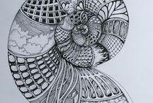 kunst: grafisch werk / grafische kunst waarbij vorm en lijnen elkaar aan en opvullen.