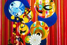 Beatriz Milhazes (1960-) / She was born in Brazil and studied at School of Visual Arts, Parque Lage. Milhazes lives and works in Rio de Janeiro. She works in the pure aesthetic Style of the Pattern and Decoration movement. Influenced by her native land of Brazil, her vibrant and bold use of color and patterns create work that is as much playful, free and psychedelic, as it is geometric, organized and rhythmic.