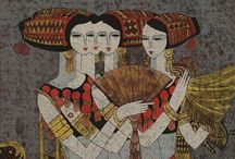 Chen Yongle (1944-) / He is a leading artist of what is today called the Yunnan Art School. He is among the few contemporary Chinese printmakers who can claim a serries of international exhibitions. The artist works in the technique of reduction woodblock prints - printed with thick oil-based colors. Chen Yongle's works remind in technique and Style of Hao Ping, another Yunnan Art School representative. Friends of Hao Ping will like Chen Yongle and vice versa.