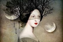 Daria Petrilli (1970-) / She is a digital illustrator born in Rome, Italy. She specializes in depicting pallid, Victorian beauties with curled hair and wasp waists. But Prtrilli blurs the lines between nature and society with her dreamlike style, adorning protagonists with bird wings and others withshells snd other elements.