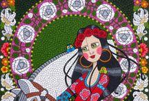 Andrea Horn / Acrylic paint mosaic on wood.