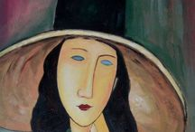 Amedeo Modigliani (1884-1920) / Modigliani was an Italian painter and sculptor who spent his youth in Italy where he studied the art of Antiquity and the Renaissance, until he moved to Paris in 1906. There he came into contact with Picasso and Brancusi. He is known for portraits and nudes in a modern style characterized by elongation of faces and figures, that were not received well during his lifetime. But after his death he achieved greater popularity and his works achieved high prices.