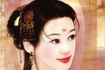 """Abraxsis Der Jen (1974-) / Born in Tapei, Taiwan, she is specialized in portraits of traditional chinese women, with national character and costumes. Her works are included in a huge series of paintings under the general title """"Illustration Collection of the Ancient Chinese People - The Zephyr-Love Stories of the Royal Manche in the Forbidden City""""."""